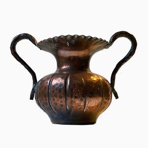 Scandinavian Hand-Embossed Brutalist Copper Vase, 1970s
