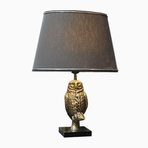 Owl Brass & Marble Table Lamp, 1970s