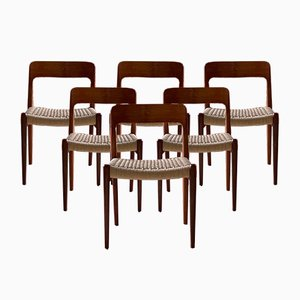 Danish Teak & Paper Cord Model 75 Dining Chairs from J.L. Møllers Møbelfabrik, 1970s, Set of 6