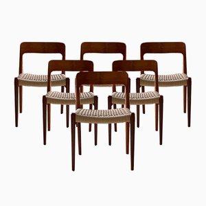 Sedie da pranzo modello 75 in teak e corda di JL Møllers Møbelfabrik, Danimarca, anni '70, set di 6