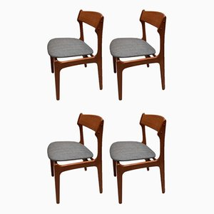 Teak Dining Chairs by Erik Buch for Oddense Maskinsnedkeri / O.D. Møbler, 1967, Set of 4
