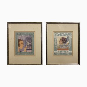 Italian Art Deco Framed Prints, 1930s, Set of 2