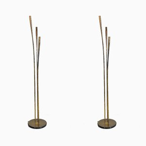 Floor Lamps with Brass Rods in the style of Oscar Torlasco, 1950s, Set of 2