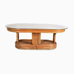Oval Bamboo & Cane Coffee Table, 1940s
