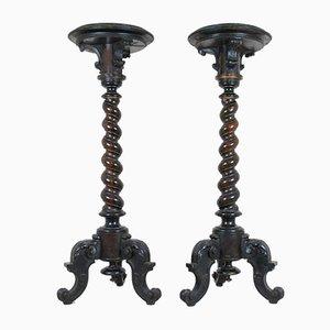 Vintage Exotic Rosewood Vase Table Holders, Set of 2