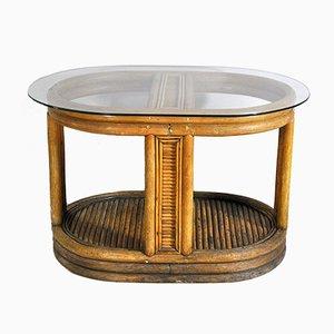 Tavolino da caffè ovale in bambù e canna, anni '40
