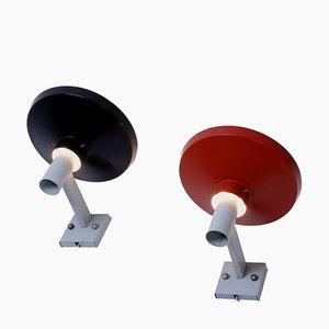 Metall Wandlampen in Schwarz & Rot von Niek Hiemstra für Hiemstra Evolux, 1950er, 2er Set