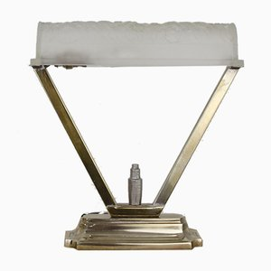 Art Deco Table Lamp with Silvered Bronze Foot by Charles Schneider for Schneider France