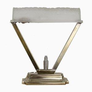 Lampada da tavolo Art Deco in bronzo argentato di Charles Schneider per Schneider France