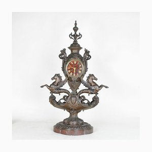19th Century Napoleon III Pendulum Clock with Winged Seahorses from Blot & Drouard
