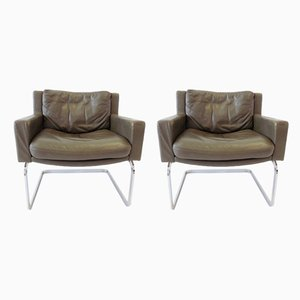 RH 201 Olive Green Leather Chairs by Robert haussmann for de Sede, 1960s, Set of 2