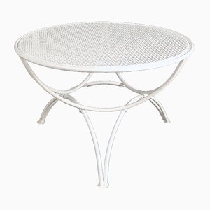 Mid-Century Italian White Metal Outdoor Table with Perforated Round Top, 1950s