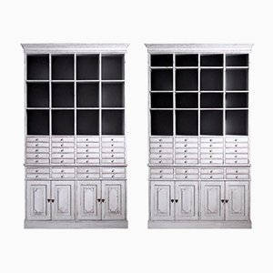 Large Antique Swedish Pharmacy 2-Part Cabinets with Drawers, 1900s, Set of 2