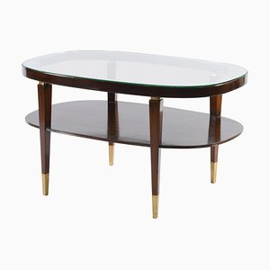 Mid-Century Italian Oval Double Shelf Coffee Table with Brass Details, 1950s