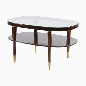 Tavolino da caffè ovale Mid-Century con dettagli in ottone, Italia, anni '50