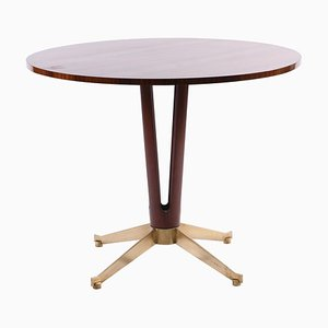 Mid-Century Italian Round Table with 4-Lobed Base and Bronze Cast Feet, 1950s