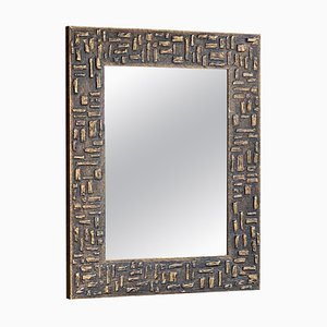 Mirror in Gold Painted Wood Patina, France, 1970s