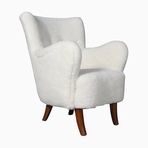 Lamb Wool Lounge Chair by Alfred Christensen, 1940s