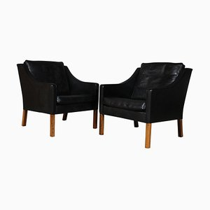Black Leather Model 2207 Lounge Chairs by Børge Mogensen for Fredericia, 1960s, Set of 2