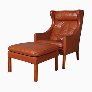 Leather Model 2202 / 2204 Wing Back Chair & Ottoman by Børge Mogensen for Fredericia, 1980s, Set of 2