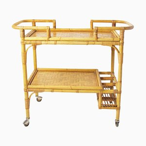 Vintage Italian Bamboo and Rattan Bar Cart, 1960s