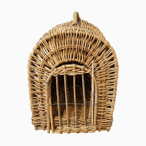 Mid-Century French Wicker Transport Cat or Dog Basket, 1950s