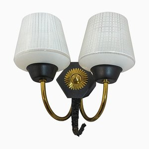 Mid-Century French Wall Sconce with 2-Light Original Glass and Brass, 1940s