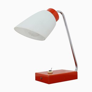 Lámpara de mesa roja de Lidokov, Czechoslovakia, años 60