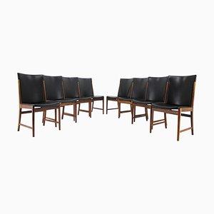 Chaises de Salon en Palissandre & Cuir par Kai Lyngfeldt Larsen pour Soren Willadsen Mobelfabrik, 1960s, Set de 8