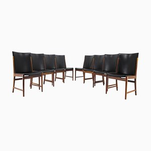 Rosewood & Leather Dining Chairs by Kai Lyngfeldt Larsen for Soren Willadsen Mobelfabrik, 1960s, Set of 8