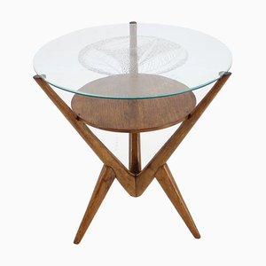 Oak and Glass Occasional Table from Uluv, Czechoslovakia, 1960s