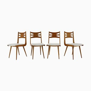 Oak Dining Chairs, Czechoslovakia, 1960s, Set of 4