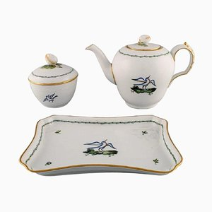 Royal Copenhagen Teapot, Sugar Bowl & Tray in Hand-Painted Porcelain, Set of 3