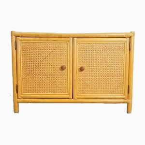Vintage Bohemian Bamboo Webbing Cabinet, 1970s