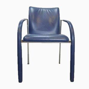 Chaises de Salle à Manger Cimarrone Vintage en Cuir Bleu de Leolux, Set de 4