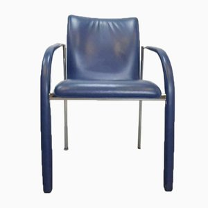 Vintage blaue Leder Cimarrone Esszimmerstühle von Leolux, 4er-Set