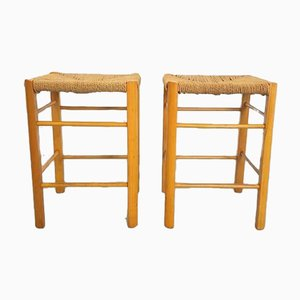 Vintage Danish Paper Cord, Rope & Beech Stools, Set of 2