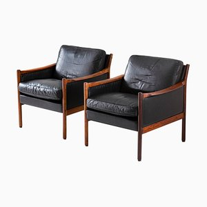 MId-Century Scandinavian Leather & Rosewood Lounge Chairs by Torbjørn Afdal, 1960s, Set of 2