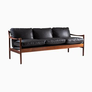 Skandinavisches Mid-Century Sofa aus Palisander & Leder von Torbjørn Afdal, 1960er