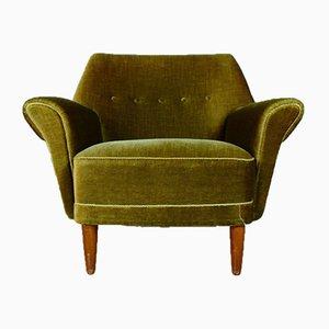 Mid-Century Danish Green Velour Lounge Chair, 1950s