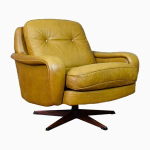Mid-Century Danish Caramel Leather & Rosewood Swivel Chair from Madsen & Schubell, 1970s
