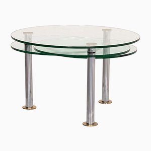 Glass and Silver K180 Extendable Coffee Table from Ronald Schmitt