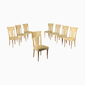 Italian Beech & Leatherette Spring Chairs, 1950s, Set of 8