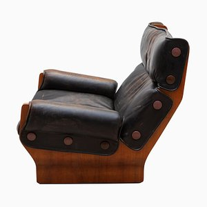 Dark Brown Leather Model Canada-P110 Lounge Chair by Osvaldo Borsani for Tecno, 1967