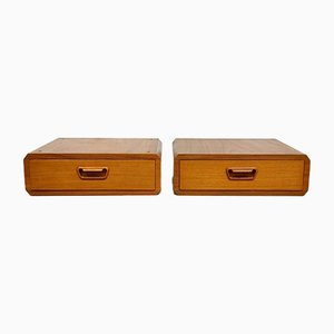 Vintage Danish Teak Floating Nightstands, 1960s, Set of 2