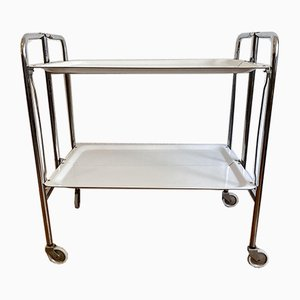 Serving Trolley in Chrome with White Trays, 1970s