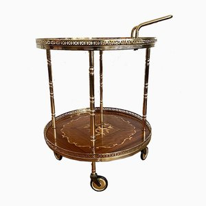 Mid-Century Round Golden Serving Trolley with Inlay, 1950s