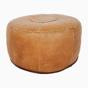 Ottomana rotonda Mid-Century in pelle color cognac, anni '60
