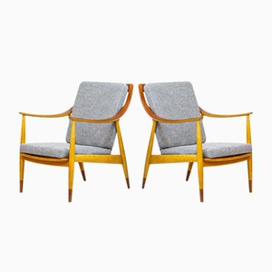 FD 135 Easy Chairs by Peter Hvidt & Orla Mølgaard-Nielsen for France & Daverkosen, 1950s, Set of 2