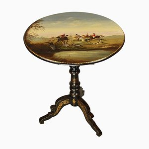 Small Antique Guéridon Salon Table with Fox Hunting Scene